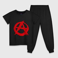 Пижама хлопковая детская Символ анархии цвета черный — фото 1