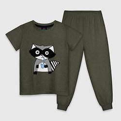 Пижама хлопковая детская Енот-мальчик цвета меланж-хаки — фото 1