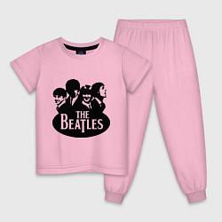 Пижама хлопковая детская The Beatles Band цвета светло-розовый — фото 1
