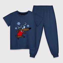 Пижама хлопковая детская Новогодний олень цвета тёмно-синий — фото 1