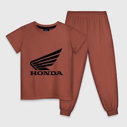 Пижама хлопковая детская Honda Motor цвета кирпичный — фото 1