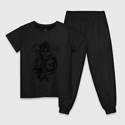 Пижама хлопковая детская Sons Of Anarchy: Death цвета черный — фото 1