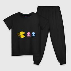 Пижама хлопковая детская Pac-Man: Fast Eat цвета черный — фото 1
