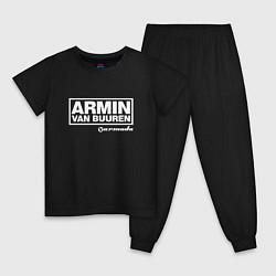 Пижама хлопковая детская Armin van Buuren цвета черный — фото 1