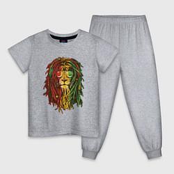 Пижама хлопковая детская Rasta Lion цвета меланж — фото 1
