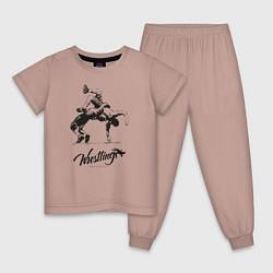 Пижама хлопковая детская Wrestling цвета пыльно-розовый — фото 1