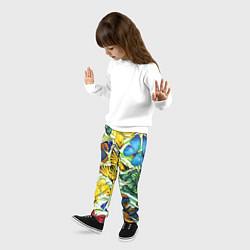 Брюки детские Тропические бабочки цвета 3D — фото 2