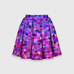 Юбка-солнце для девочки Треугольники мозаика пиксели цвета 3D-принт — фото 1