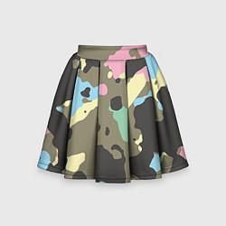 Юбка-солнце для девочки Камуфляж: микс цветов цвета 3D — фото 1