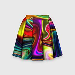 Юбка-солнце для девочки Неоновые разводы цвета 3D — фото 1