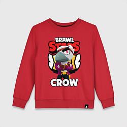 Свитшот хлопковый детский БРАВЛ СТАРС CROW ВОРОН цвета красный — фото 1