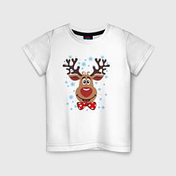 Футболка хлопковая детская Рождественский олень цвета белый — фото 1