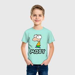 Футболка хлопковая детская Moby цвета мятный — фото 2