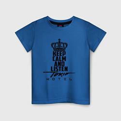 Футболка хлопковая детская Keep Calm & Listen Tokio Hotel цвета синий — фото 1