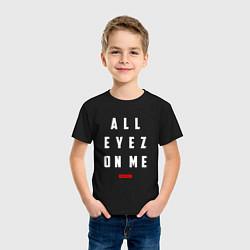 Футболка хлопковая детская Tupac: All eyez on me цвета черный — фото 2