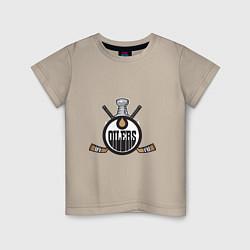 Футболка хлопковая детская Edmonton Oilers Hockey цвета миндальный — фото 1