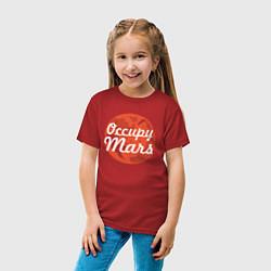 Футболка хлопковая детская Elon Musk: Occupy Mars цвета красный — фото 2