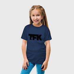Футболка хлопковая детская TFK: Black Logo цвета тёмно-синий — фото 2