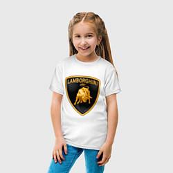 Футболка хлопковая детская Lamborghini logo цвета белый — фото 2