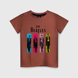 Футболка хлопковая детская Walking Beatles цвета кирпичный — фото 1