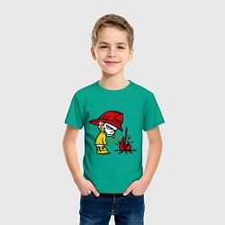 Футболка хлопковая детская Ручной пожарник цвета зеленый — фото 2