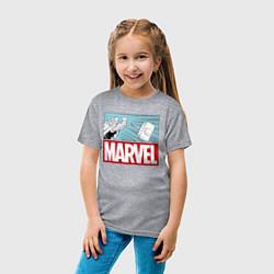 Футболка хлопковая детская Thor: Marvel цвета меланж — фото 2