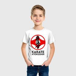 Футболка хлопковая детская Karate Kyokushin цвета белый — фото 2