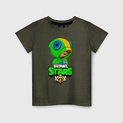 Футболка хлопковая детская BRAWL STARS LEON БРАВЛ СТАРС ЛЕОН цвета меланж-хаки — фото 1