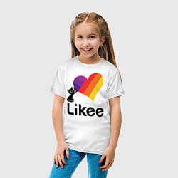 Футболка хлопковая детская Likee LIKE Video цвета белый — фото 2