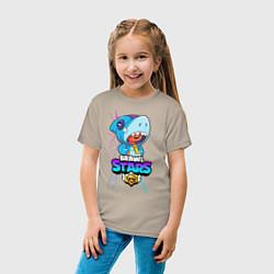 Футболка хлопковая детская BRAWL STARS LEON SHARK цвета миндальный — фото 2