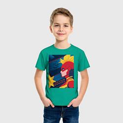 Футболка хлопковая детская Капитан Марвел Мстители цвета зеленый — фото 2