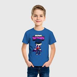 Футболка хлопковая детская Brawl StarsEdgar цвета синий — фото 2