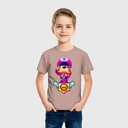 Футболка хлопковая детская Гавс цвета пыльно-розовый — фото 2