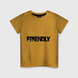 Футболка хлопковая детская DayZ: Im friendly цвета горчичный — фото 1
