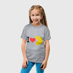 Футболка хлопковая детская I love Packman цвета меланж — фото 2