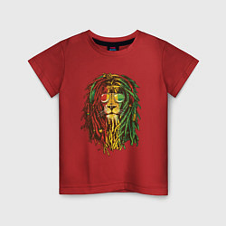Футболка хлопковая детская Rasta Lion цвета красный — фото 1