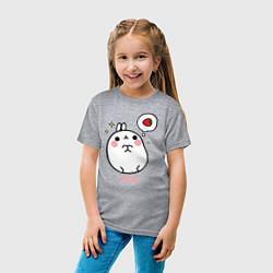 Футболка хлопковая детская Кролик Моланг с клубникой цвета меланж — фото 2