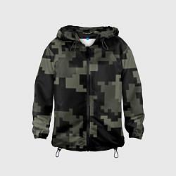 Ветровка с капюшоном детская Камуфляж пиксельный: черный/серый цвета 3D-черный — фото 1