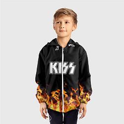 Ветровка с капюшоном детская Kiss: Hell Flame цвета 3D-белый — фото 2