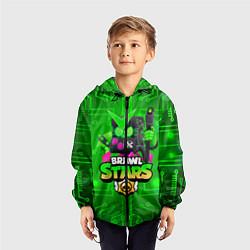 Ветровка с капюшоном детская Brawl Stars Virus 8-Bit цвета 3D-черный — фото 2
