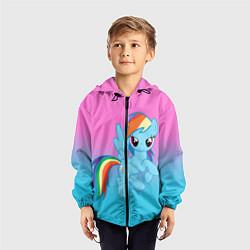 Детская 3D-ветровка с капюшоном с принтом My Little Pony, цвет: 3D-черный, артикул: 10075443504549 — фото 2