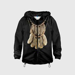 Ветровка с капюшоном детская Золотые перья цвета 3D-черный — фото 1