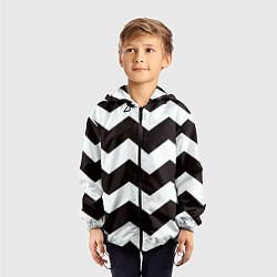 Ветровка с капюшоном детская Полосы цвета 3D-черный — фото 2