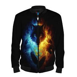 Бомбер мужской Волки в огне цвета 3D-черный — фото 1