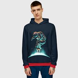 Толстовка-худи мужская Планетарный скейтбординг цвета 3D-красный — фото 2