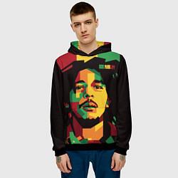 Толстовка-худи мужская Боб Марли цвета 3D-черный — фото 2