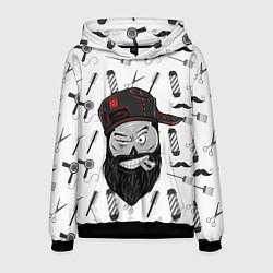 Толстовка-худи мужская Барбер Борода цвета 3D-черный — фото 1