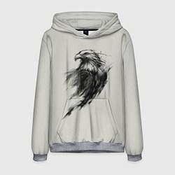 Толстовка-худи мужская Дикий орел цвета 3D-меланж — фото 1