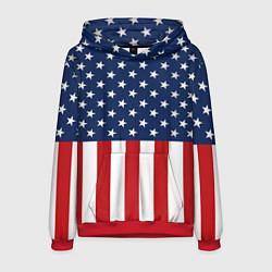 Толстовка-худи мужская Флаг США цвета 3D-красный — фото 1