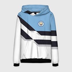 Толстовка-худи мужская Manchester City FC: White style цвета 3D-черный — фото 1